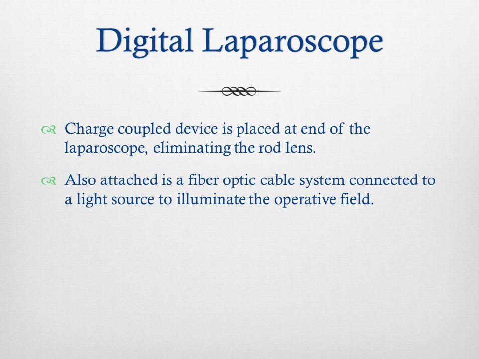 Digital LaparoscopeDigital Laparoscope  Charge coupled device is placed at end of the laparoscope, eliminating the rod lens.