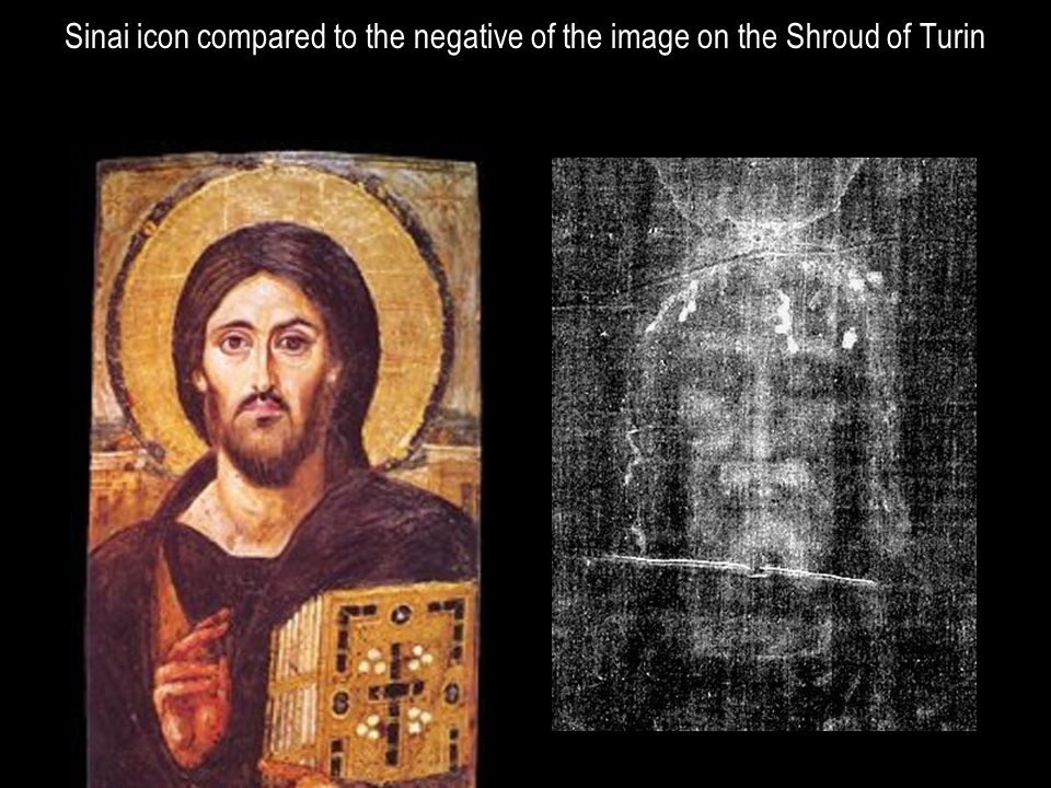 Sinai icon compared to the negative of the image on the Shroud of Turin