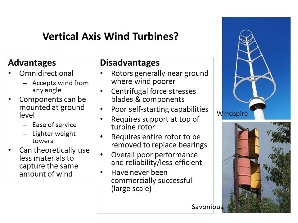 Yawing – Facing the Wind Active Yaw (all medium & large turbines produced today, & some small turbines from Europe) Anemometer on nacelle tells controller which way to point rotor into the wind Yaw drive turns gears to point rotor into wind Passive Yaw (Most small turbines) Wind forces alone direct rotor Tail vanes Downwind turbines