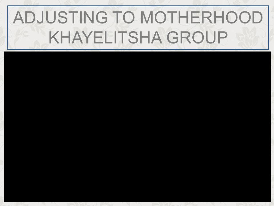 ADJUSTING TO MOTHERHOOD KHAYELITSHA GROUP