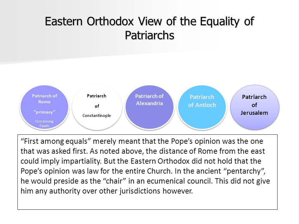 Eastern Orthodox View of the Equality of Patriarchs Patriarch of Rome primacy First Among Equals Patriarch of Rome primacy First Among Equals Patriarch of Constantinople Patriarch of Constantinople Patriarch of Alexandria Patriarch of Antioch Patriarch of Jerusalem First among equals merely meant that the Pope's opinion was the one that was asked first.