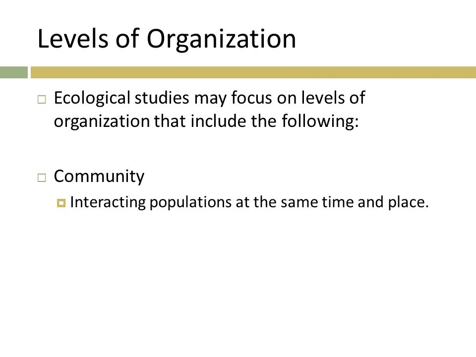 Levels of Organization  Ecological studies may focus on levels of organization that include the following:  Community  Interacting populations at t