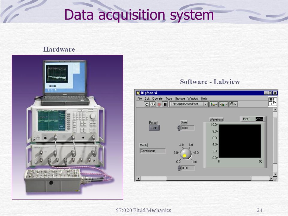 57:020 Fluid Mechanics24 Data acquisition system Hardware Software - Labview
