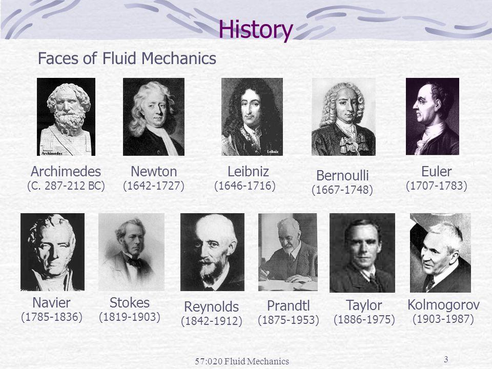 57:020 Fluid Mechanics 3 History Faces of Fluid Mechanics Archimedes (C.