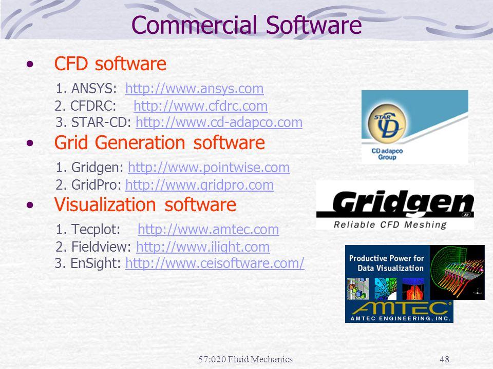 57:020 Fluid Mechanics48 Commercial Software CFD software 1.