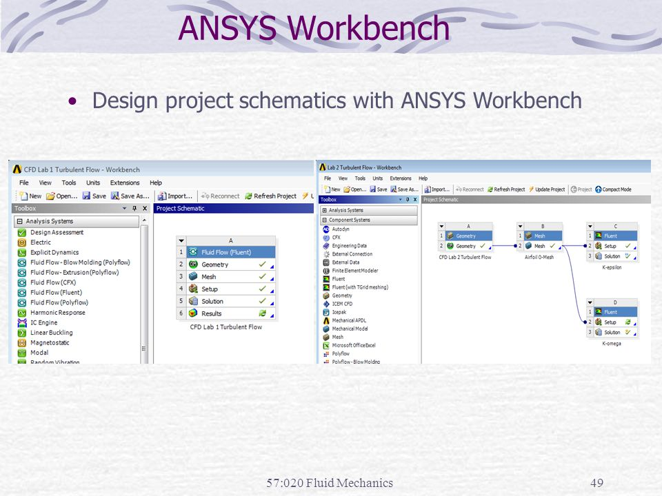 ANSYS Workbench 57:020 Fluid Mechanics49 Design project schematics with ANSYS Workbench