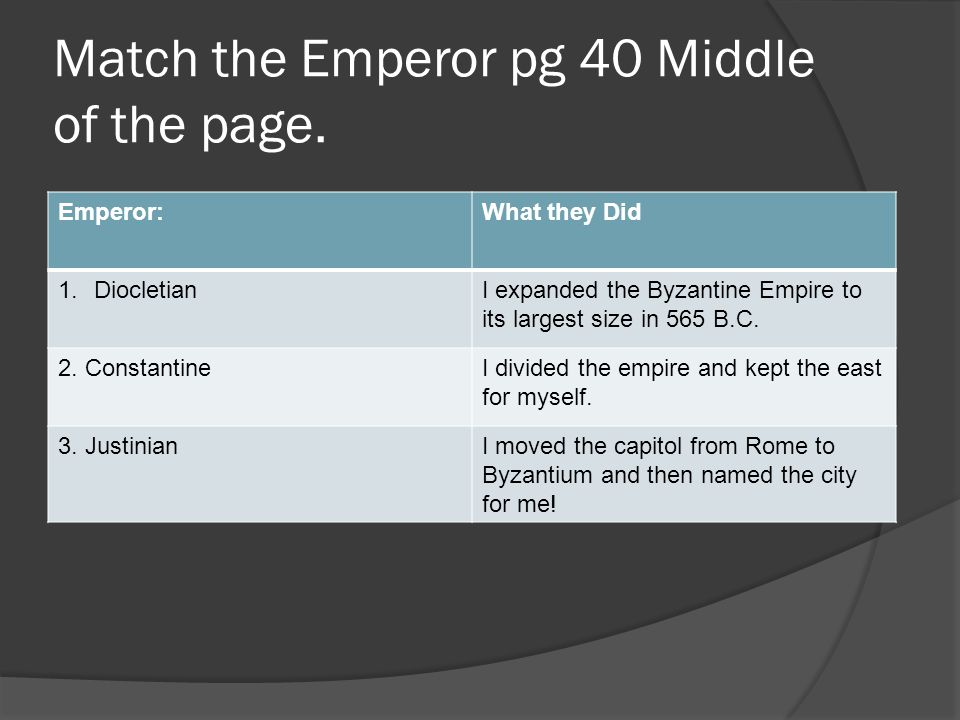Match the Emperor pg 40 Middle of the page.