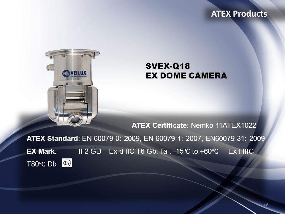29 ATEX Products ATEX Certificate: Nemko 11ATEX1022 ATEX Standard: EN 60079-0: 2009, EN 60079-1: 2007, EN60079-31: 2009 EX Mark: II 2 GD Ex d IIC T6 G