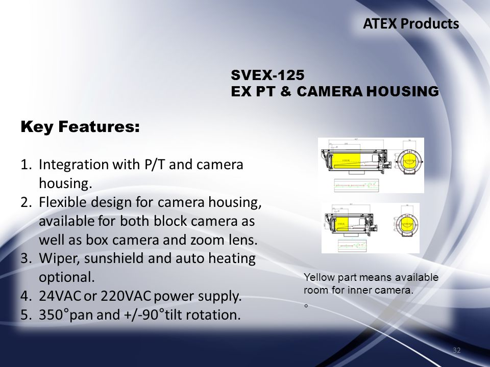 32 Key Features: 1.Integration with P/T and camera housing.