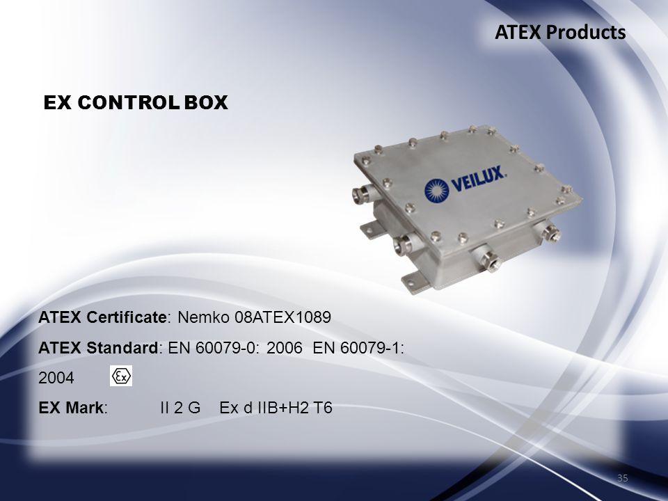 35 ATEX Products EX CONTROL BOX ATEX Certificate: Nemko 08ATEX1089 ATEX Standard: EN 60079-0: 2006 EN 60079-1: 2004 EX Mark: II 2 G Ex d IIB+H2 T6