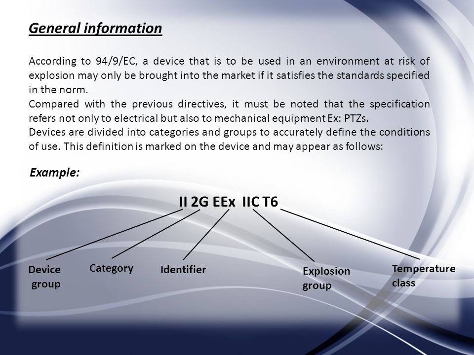 General information According to 94/9/EC, a device that is to be used in an environment at risk of explosion may only be brought into the market if it satisfies the standards specified in the norm.