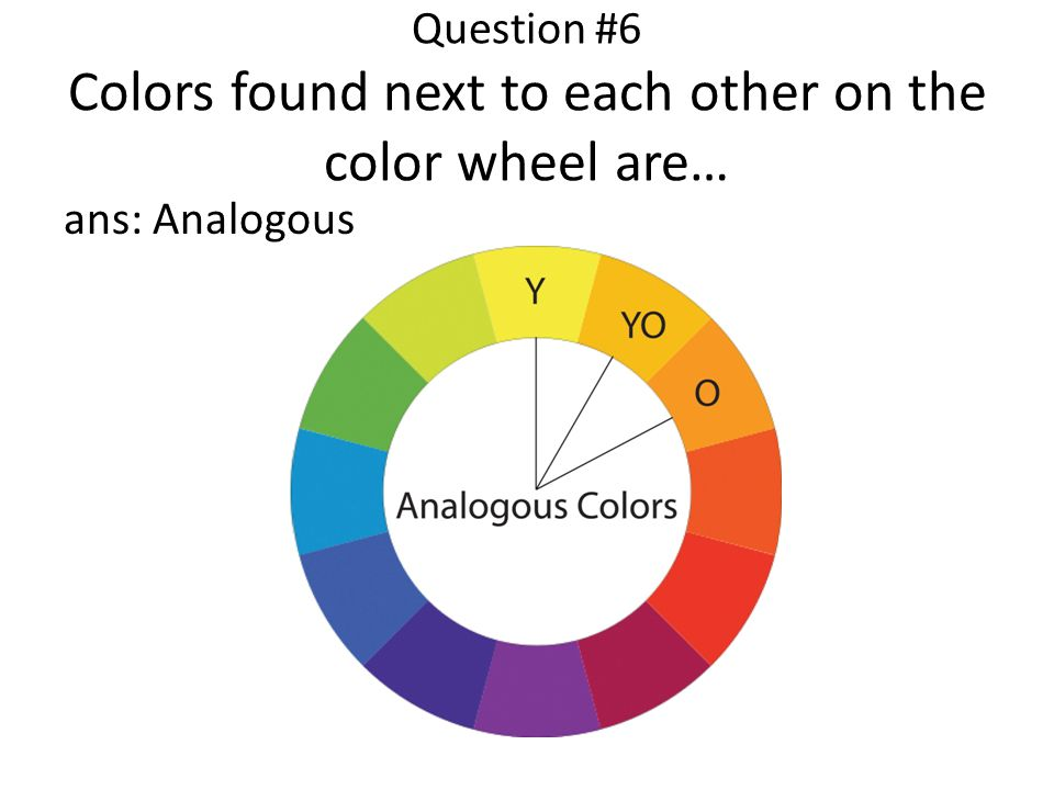 Question #6 Colors found next to each other on the color wheel are… ans: Analogous