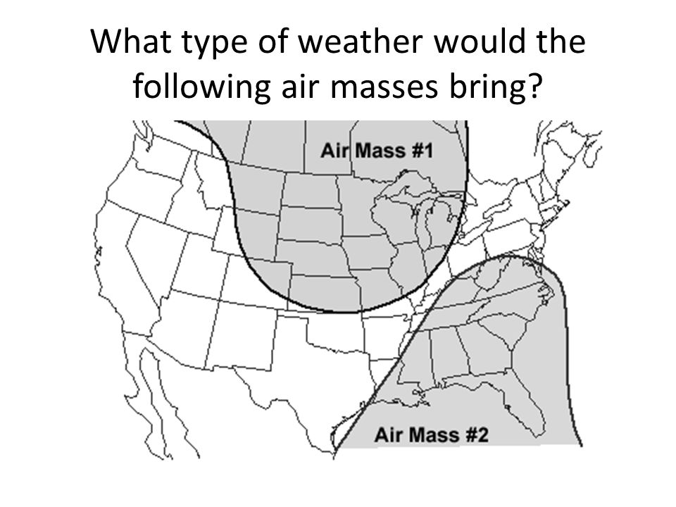 What type of weather would the following air masses bring
