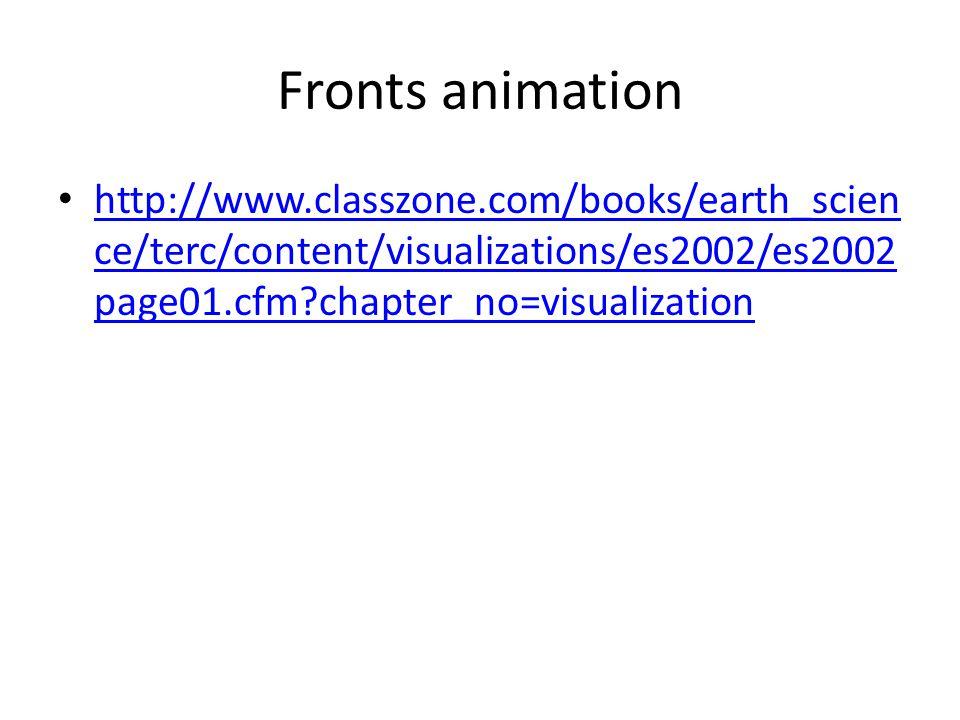 Fronts animation http://www.classzone.com/books/earth_scien ce/terc/content/visualizations/es2002/es2002 page01.cfm?chapter_no=visualization http://www.classzone.com/books/earth_scien ce/terc/content/visualizations/es2002/es2002 page01.cfm?chapter_no=visualization