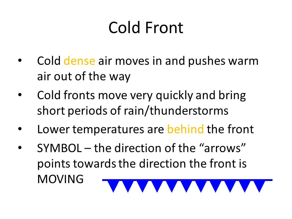 Cold Front Cold dense air moves in and pushes warm air out of the way Cold fronts move very quickly and bring short periods of rain/thunderstorms Lower temperatures are behind the front SYMBOL – the direction of the arrows points towards the direction the front is MOVING