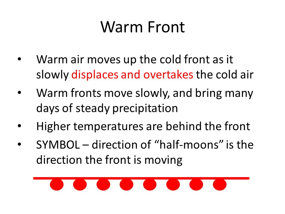 Warm Front Warm air moves up the cold front as it slowly displaces and overtakes the cold air Warm fronts move slowly, and bring many days of steady precipitation Higher temperatures are behind the front SYMBOL – direction of half-moons is the direction the front is moving