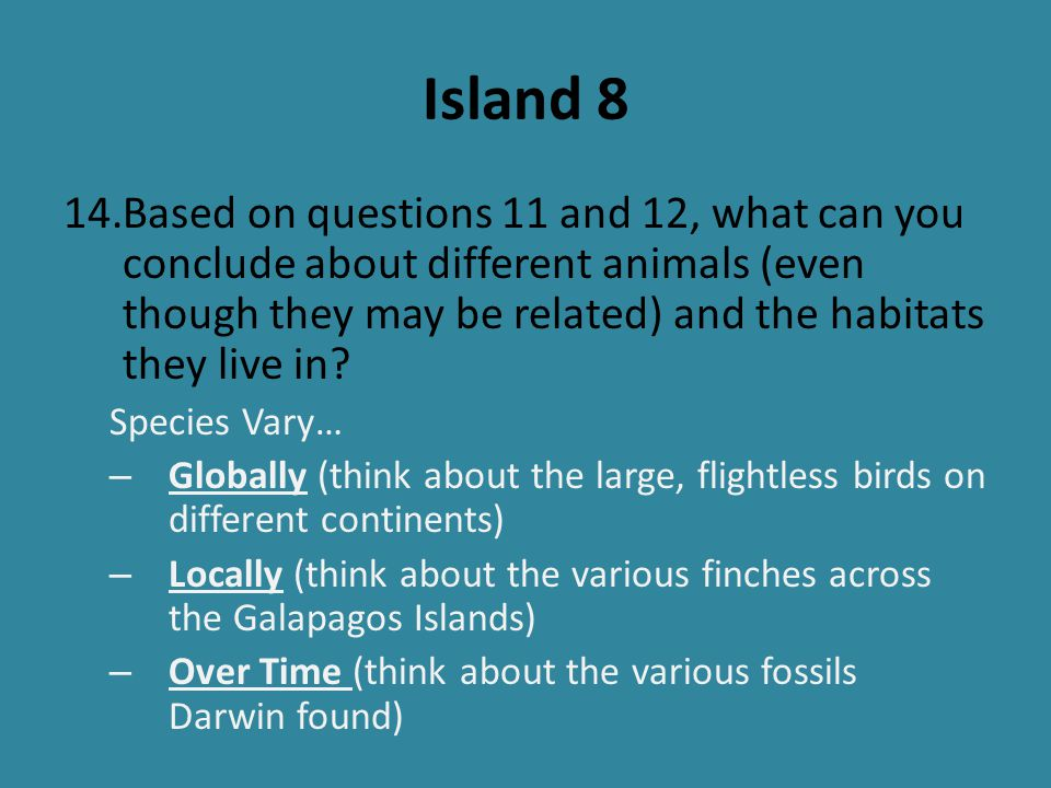 Island 9 15.Referring to the displayed fossils.