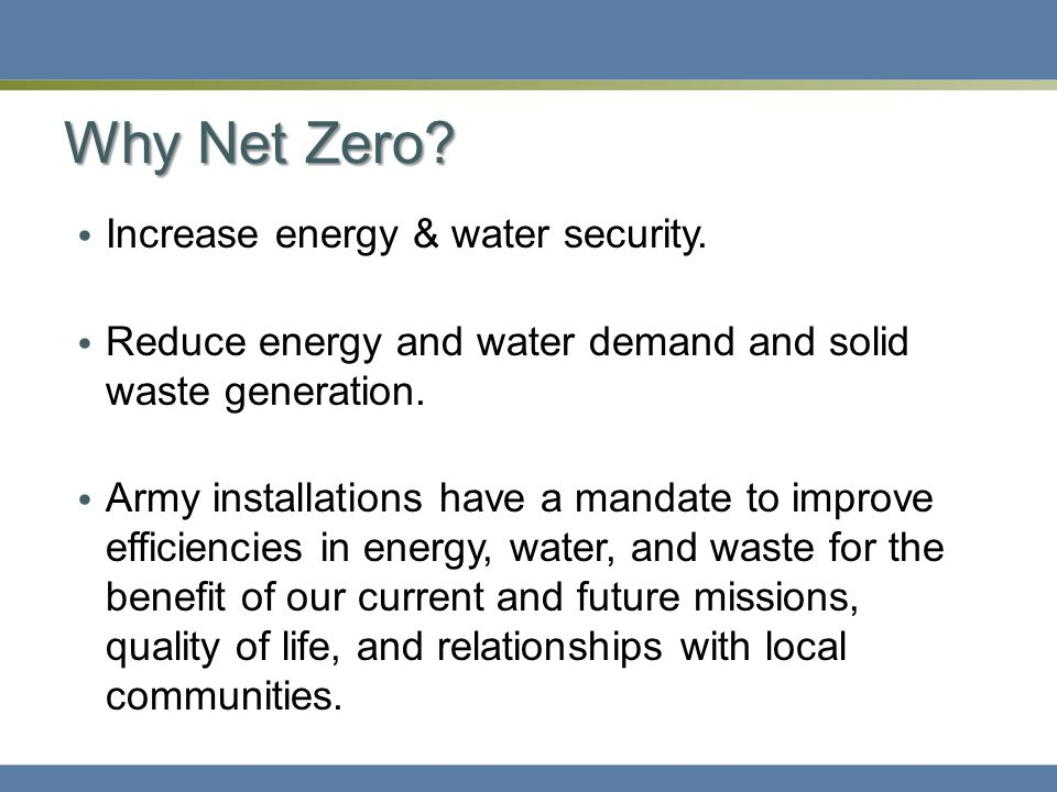 Why Net Zero. Increase energy & water security.