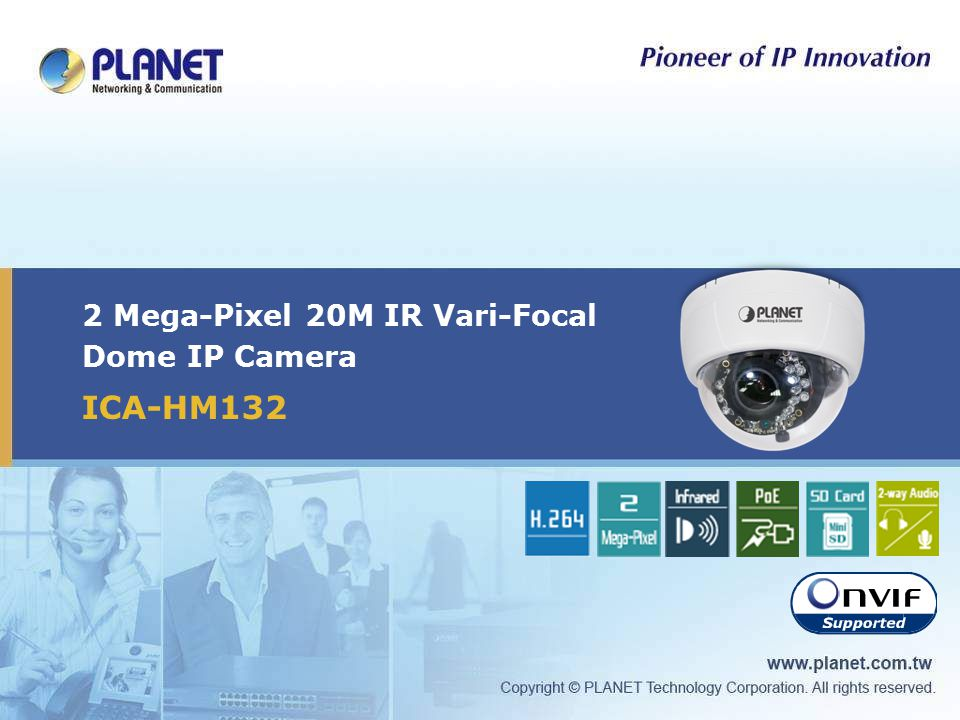2 Mega-Pixel 20M IR Vari-Focal Dome IP Camera ICA-HM132