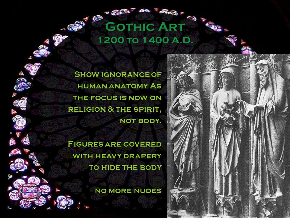 Show ignorance of human anatomy As the focus is now on religion & the spirit, not body.