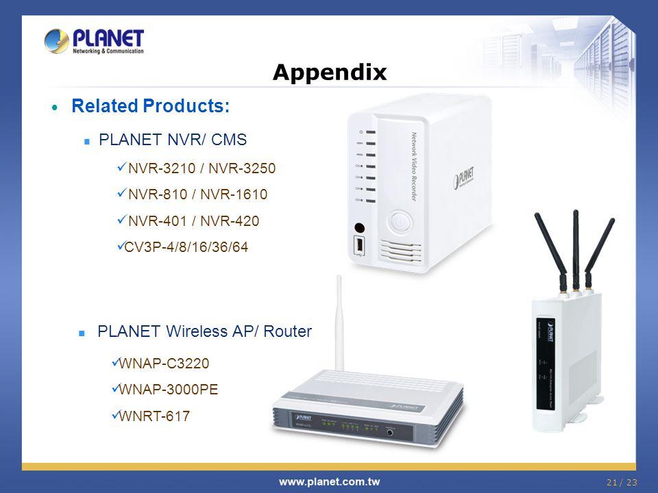 Related Products: PLANET NVR/ CMS NVR-3210 / NVR-3250 NVR-810 / NVR-1610 NVR-401 / NVR-420 CV3P-4/8/16/36/64 Appendix PLANET Wireless AP/ Router WNAP-
