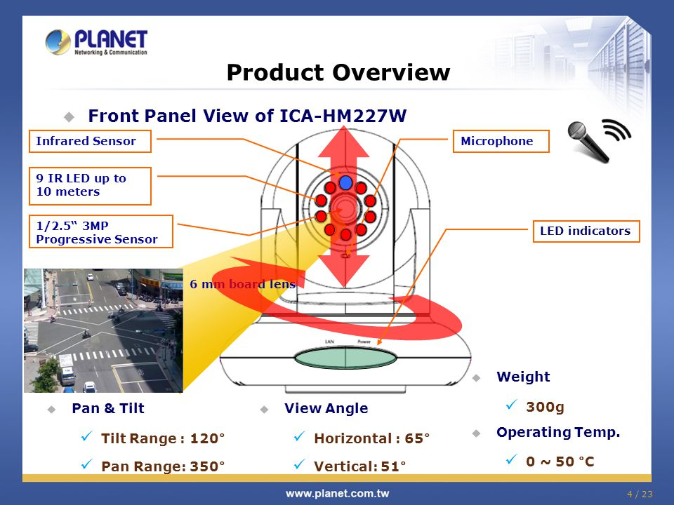 """Product Overview  Front Panel View of ICA-HM227W 1/2.5"""" 3MP Progressive Sensor 6 mm board lens 4 / 23  Weight 300g  Operating Temp. 0 ~ 50 °C  Pan"""