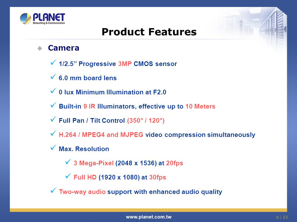 Product Features  Exceptional surveillance with 3 Mega-Pixel camera This ICA-HM227W supports H.264, MPEG-4, and M-JPEG compression formats and delivers excellent picture quality in 3 Mega-Pixel (2048 x 1536), resolutions at 20 frames per second (fps).