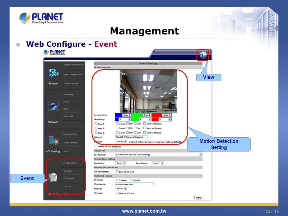 18 / 15 Management  Web Configure - Event Event Motion Detection Setting View