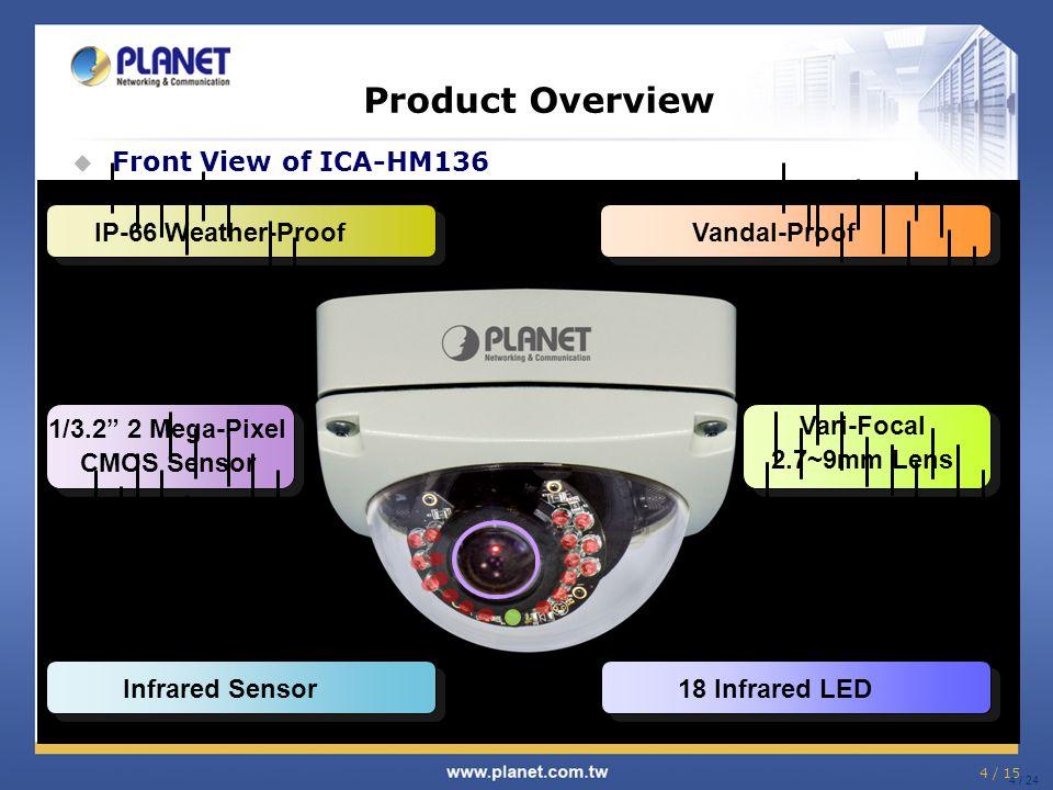 "4 / 15 4 / 24 Product Overview  Front View of ICA-HM136 1/3.2"" 2 Mega-Pixel CMOS Sensor IP-66 Weather-ProofVandal-ProofInfrared Sensor18 Infrared LED"
