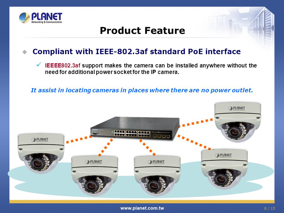 9 / 15 Product Feature (Software) H.264 / MPEG-4 / M-JPEG video compression Max.