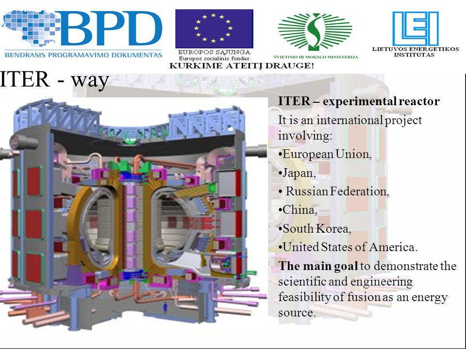 JET: B – 3,8 T R – 2,9 m ITER: B – 5,5 T R – 6,2 m ITER