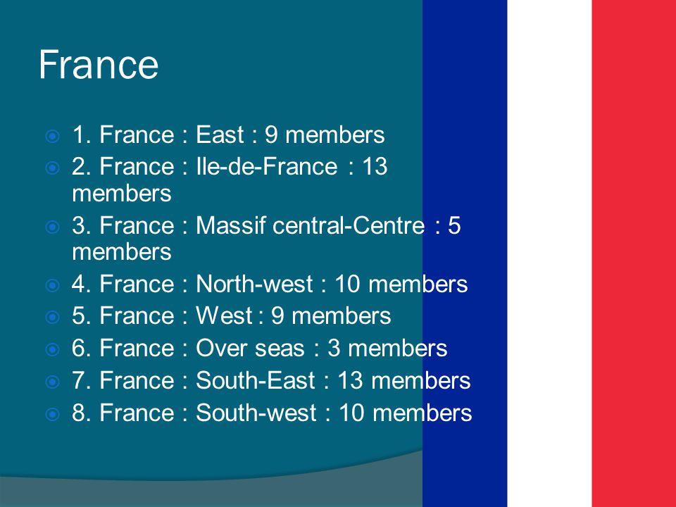 France  1. France : East : 9 members  2. France : Ile-de-France : 13 members  3. France : Massif central-Centre : 5 members  4. France : North-wes