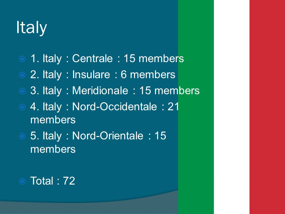 Italy  1.Italy : Centrale : 15 members  2. Italy : Insulare : 6 members  3.