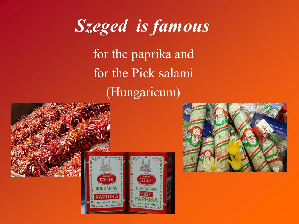 Szeged is famous for the paprika and for the Pick salami (Hungaricum)