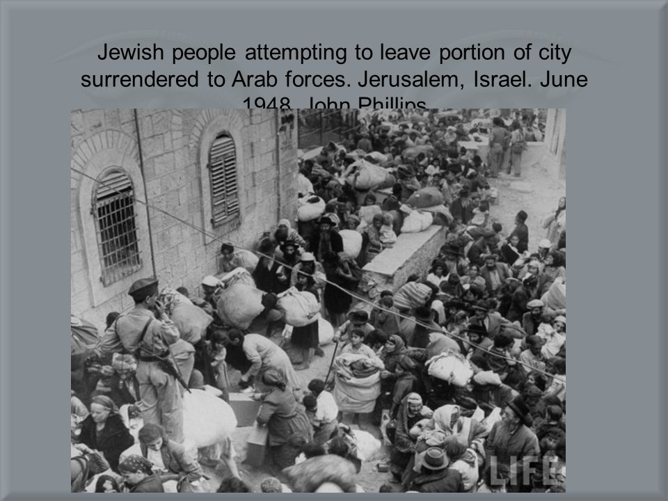 Jewish people attempting to leave portion of city surrendered to Arab forces.
