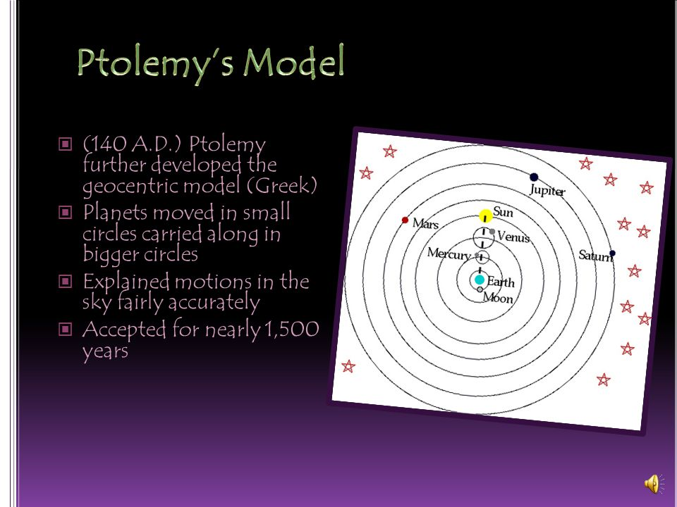 (140 A.D.) Ptolemy further developed the geocentric model (Greek) Planets moved in small circles carried along in bigger circles Explained motions in the sky fairly accurately Accepted for nearly 1,500 years