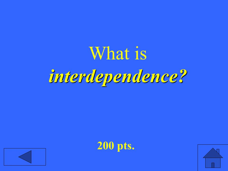 interdependence What is interdependence 200 pts.