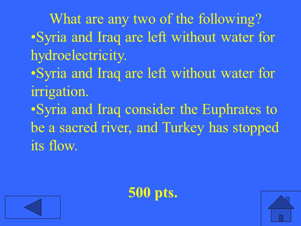 What are any two of the following. Syria and Iraq are left without water for hydroelectricity.