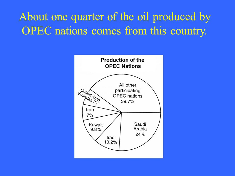 About one quarter of the oil produced by OPEC nations comes from this country.