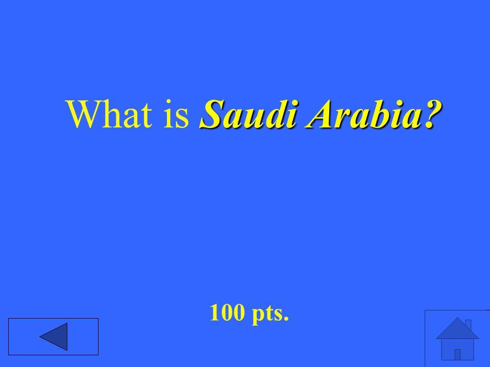 Saudi Arabia What is Saudi Arabia 100 pts.
