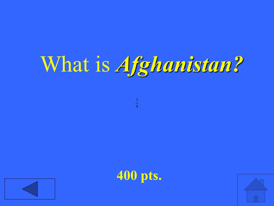 Afghanistan? What is Afghanistan? 400 pts.