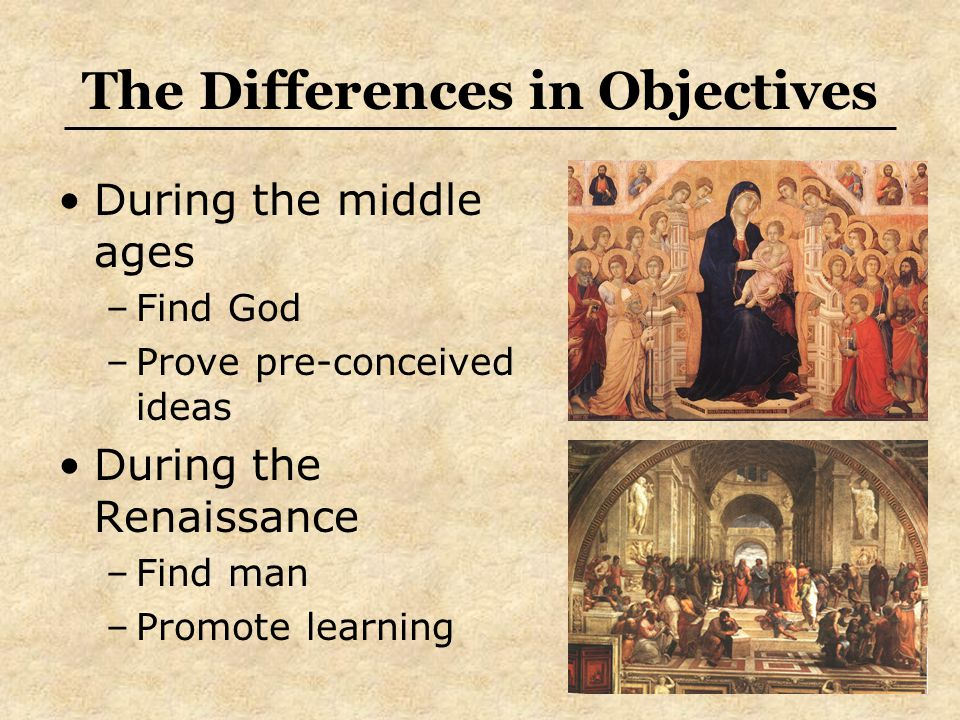 The Differences in Objectives During the middle ages –Find God –Prove pre-conceived ideas During the Renaissance –Find man –Promote learning