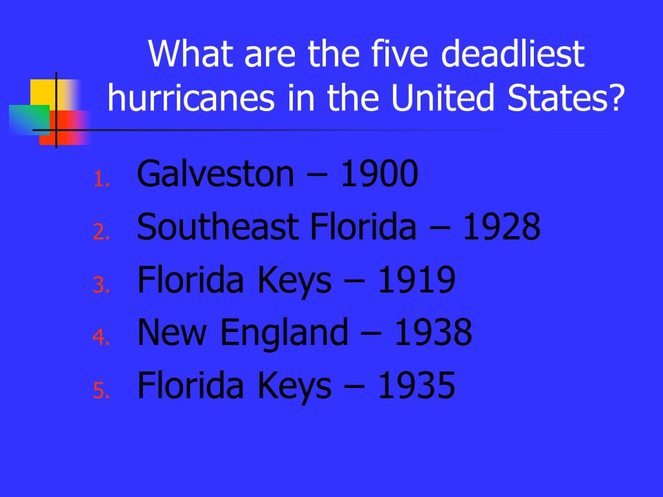What are the five deadliest hurricanes in the United States.
