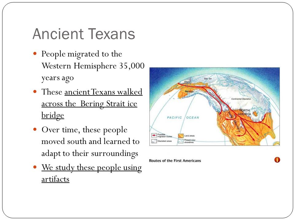 Ancient Texans People migrated to the Western Hemisphere 35,000 years ago These ancient Texans walked across the Bering Strait ice bridge Over time, t