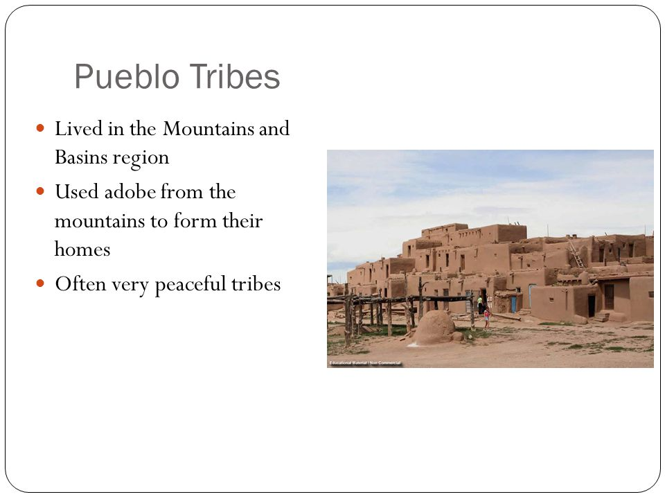 Jumano Lived in the present day Texas, New Mexico & northern Mexico Traded with other tribes and hunted buffalo Very friendly with the Caddo and traded crops for animal skins/meat Made pottery and jewelry making them very popular to trade with Men had striped tattoos on their faces