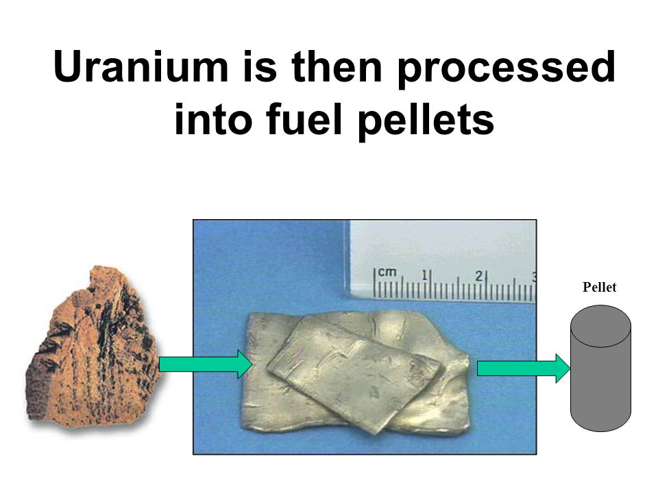 Uranium is then processed into fuel pellets Pellet