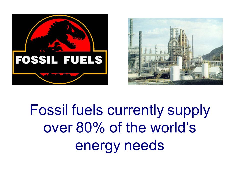 Fossil fuels currently supply over 80% of the world's energy needs