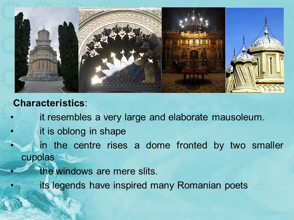 Characteristics: it resembles a very large and elaborate mausoleum.