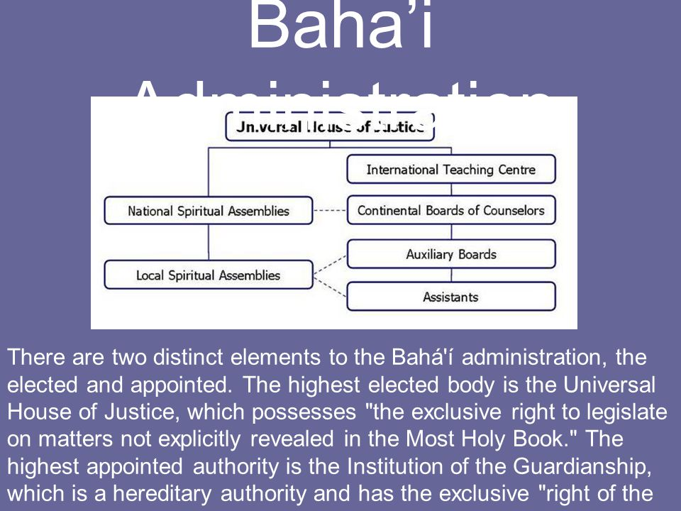 There are two distinct elements to the Bahá í administration, the elected and appointed.
