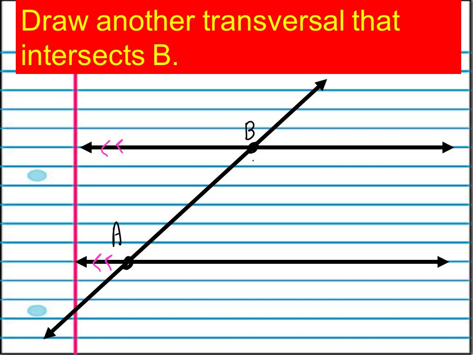 Draw another transversal that intersects B.
